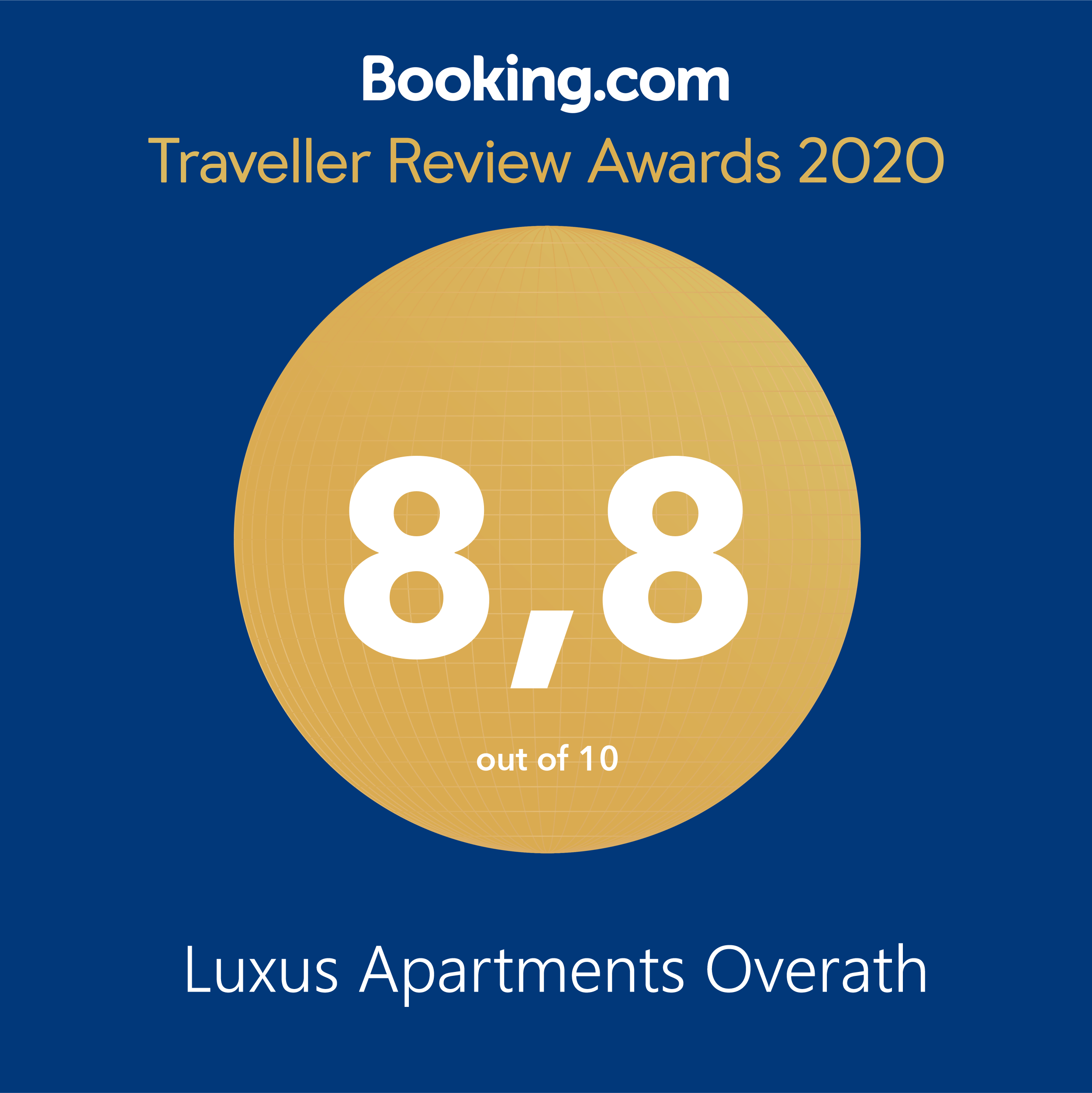 Booking.vom Award 2020 Overath Luxus Apartments